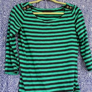 Banana Republic Striped 3/4 Sleeve Shirt